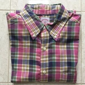 BROOKS BROTHERS pink/navy plaid button up shirt L